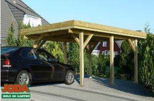 modernes carport mit flachdach und dreiseitiger massivholz blende gnstiges holz standard carport bausatz von joda im format 340 x 510 cm aus